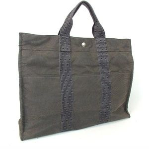 100% Authentic Hermes Her line Canvas Gray Handbag